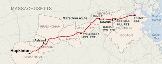 Boston Marathon Route - Hopkinton to Boston.